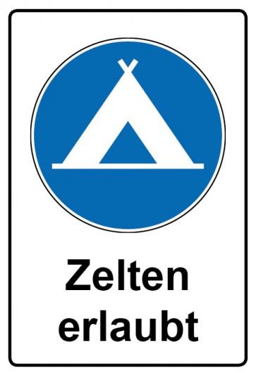 Kombi Aufkleber Zelten erlaubt | Gebotszeichen