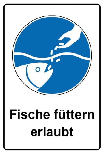 Kombi Aufkleber Fische füttern erlaubt | Gebotszeichen