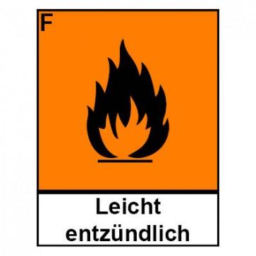 Klebeschild Gefahrstoffzeichen leichtentzündlich Hazard_F