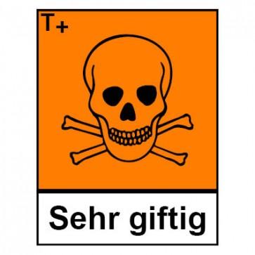 Klebeschild Gefahrstoffzeichen sehr giftig Hazard_T