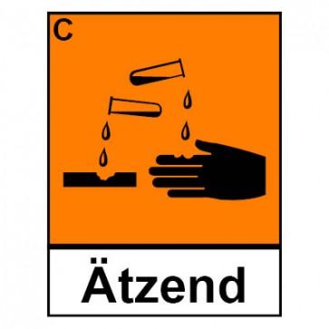 Klebeschild Gefahrstoffzeichen ätzend Hazard_C