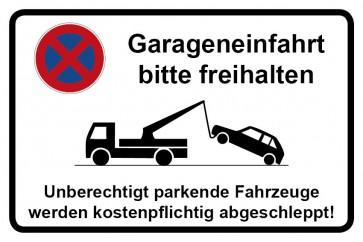 Aufkleber Parkverbotsschild Garageneinfahrt bitte freihalten