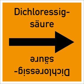 Rohrleitungskennzeichnung viereckig Dichloressigsäure · Aluminium-Schild