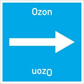 Rohrleitungskennzeichnung viereckig Ozon · Aluminium-Schild