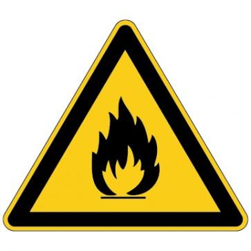 Aufkleber Warnung vor feuergefährlichen Stoffen