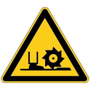 Aufkleber Warnung vor Fräswelle