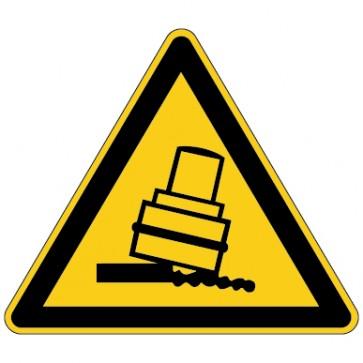 Warnschild Warnung vor Kippgefahr beim Walzen