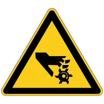 Aufkleber Warnung vor Handverletzungen durch rotierendes Werkzeug