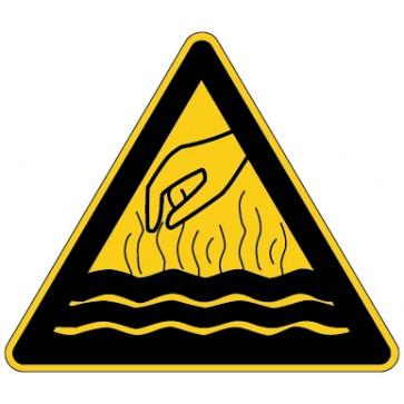 Warnschild Warnung vor heißen Medien