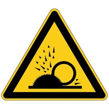 Aufkleber Warnung vor wegfliegende Späne