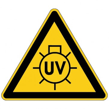 Warnschild Warnung vor UV Strahlung