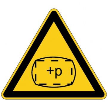 Aufkleber Warnung vor Überdruck