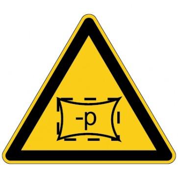Warnschild Warnung vor Unterdruck