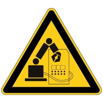 Aufkleber Warnung vor Gefahr durch Industrieroboter