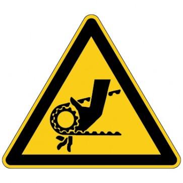 Warnschild Warnung vor Einzugsgefahr durch Riemenantrieb