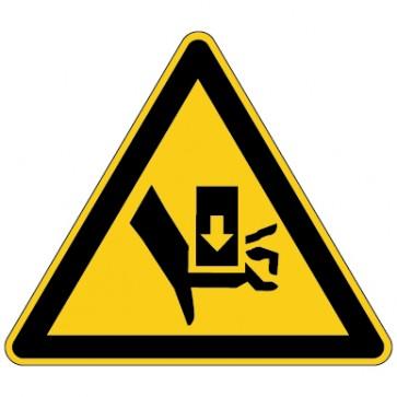 Aufkleber Warnung vor Handverletzungen - Quetschgefahr durch Einpresswerkzeug