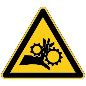 Aufkleber Warnung vor Einzugsgefahr - Quetschgefahr