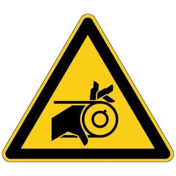 Aufkleber Warnung vor Einzugsgefahr durch Riemenantrieb
