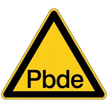Aufkleber Warnung vor Polybromierte Diphenylether