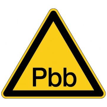Aufkleber Warnung vor Polybromierte Biphenyle