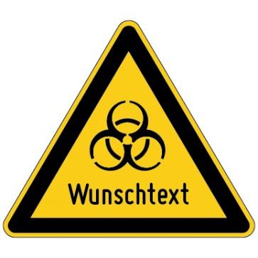Warnschild Warnung vor Biohazard-Virus Wunschtext