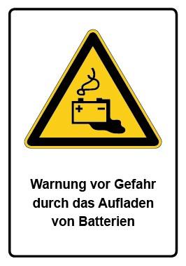 Kombi Schild Warnung vor Gefahr durch das Aufladen von Batterien