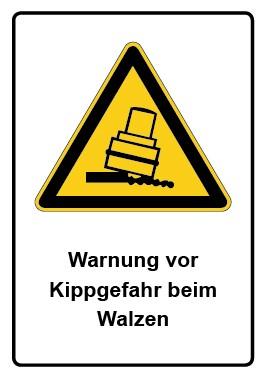 Kombi Aufkleber Warnung vor Kippgefahr beim Walzen