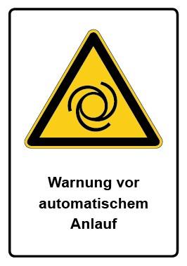 Kombi Schild Warnung vor automatischem Anlauf