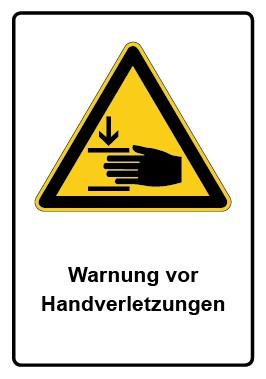 Kombi Schild Warnung vor Handverletzungen