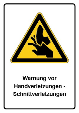 Kombi Aufkleber Warnung vor Handverletzungen - Schnittverletzungen