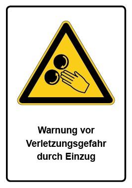 Kombi Aufkleber Warnung vor Verletzungsgefahr durch Einzug