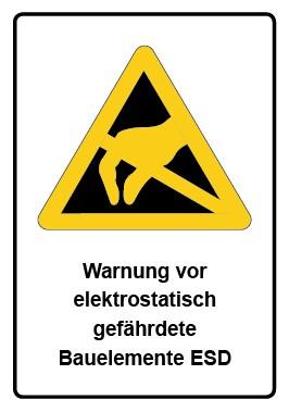 Kombi Schild Warnung vor elektrostatisch gefährdete Bauelemente ESD