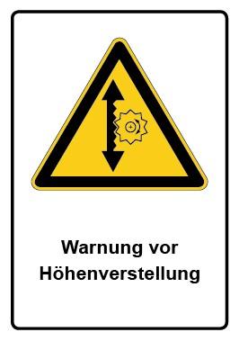 Kombi Aufkleber Warnung vor Höhenverstellung