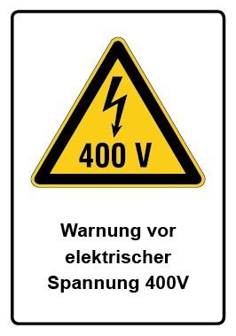 Kombi Aufkleber Warnung vor elektrischer Spannung 400V