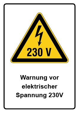 Kombi Aufkleber Warnung vor elektrischer Spannung 230V