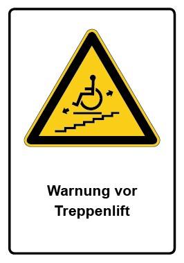 Kombi Aufkleber Warnung vor Treppenlift