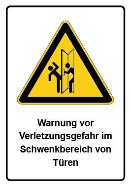 Kombi Aufkleber Warnung vor Verletzungsgefahr im Schwenkbereich von Türen