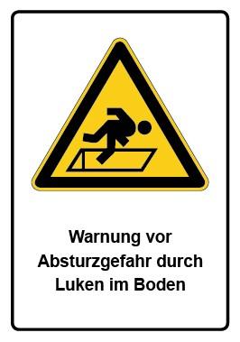 Kombi Aufkleber Warnung vor Absturzgefahr durch Luken im Boden