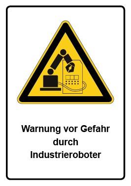 Kombi Aufkleber Warnung vor Gefahr durch Industrieroboter