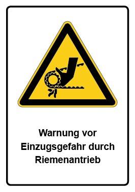 Kombi Aufkleber Warnung vor Einzugsgefahr durch Riemenantrieb