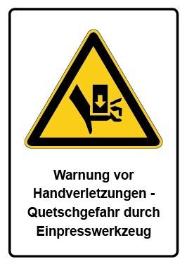 Kombi Aufkleber Warnung vor Handverletzungen - Quetschgefahr durch Einpresswerkzeug
