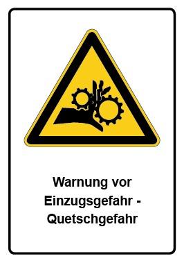Kombi Aufkleber Warnung vor Einzugsgefahr - Quetschgefahr