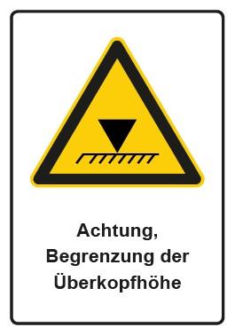 Kombi Aufkleber Hinweiszeichen Achtung, Begrenzung der Überkopfhöhe