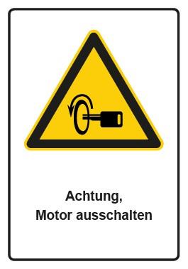 Kombi Aufkleber Hinweiszeichen Achtung, Motor ausschalten