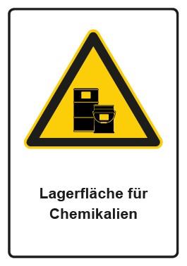 Kombi Aufkleber Hinweiszeichen Lagerfläche für Chemikalien