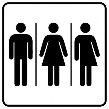 WC Toiletten Aufkleber | Herren · Damen · Transgender · weiß