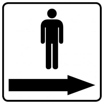 WC Toiletten Aufkleber   Piktogramm Herren Pfeil rechts · weiß