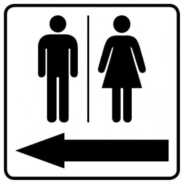 WC Toiletten Aufkleber | Piktogramm Herren · Damen Pfeil links · weiß