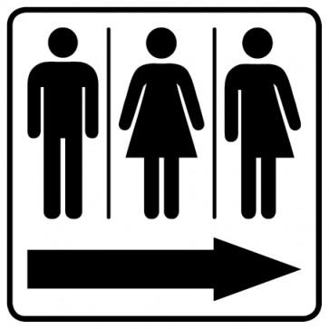 WC Toiletten Aufkleber | Piktogramm Herren · Damen · Transgender Pfeil rechts · weiß