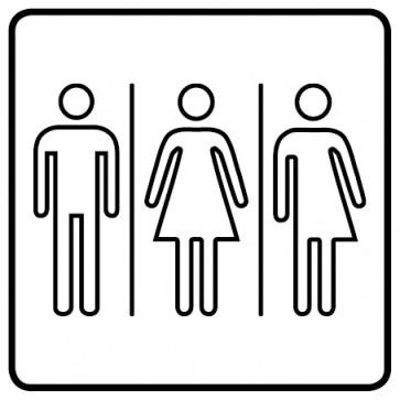 WC Toiletten Aufkleber | Herren · Damen · Transgender outline · weiß
